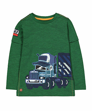 Mothercare Green Truck Mock Layer T-Shirt