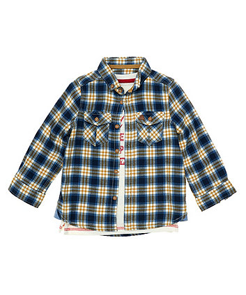 Checked Shirt And T-Shirt Set