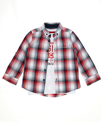 Mothercare Red Check Shirt And White T-Shirt Set