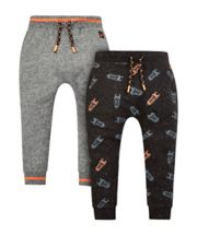 Rocket Print And Grey Joggers - 2 Pack