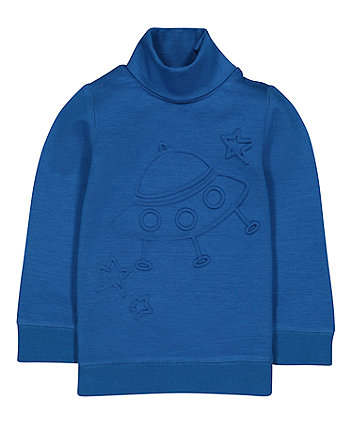 Blue Spaceship Roll Neck Sweat Top
