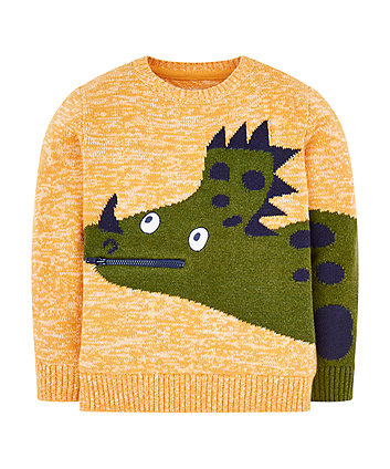 Mothercare Orange Dinosaur Knitted Jumper