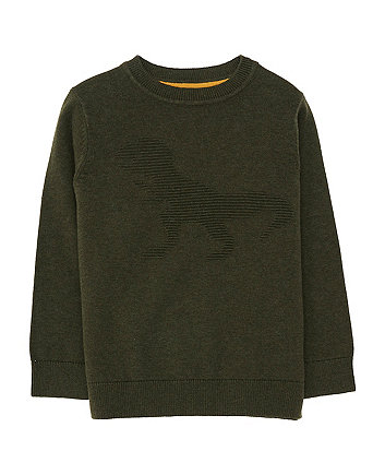 Khaki Dinosaur Knitted Jumper