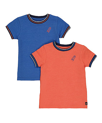 Mothercare Blue And Orange Pique T-Shirts - 2 Pack