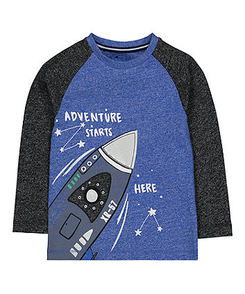 Mothercare Blue Raglan Rocket T-Shirt