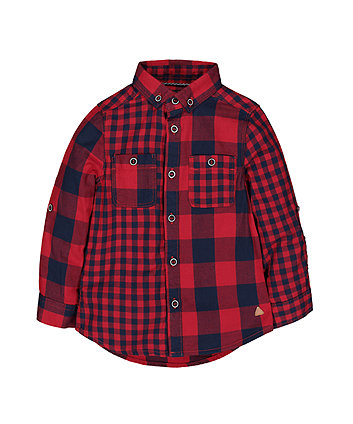 Mothercare Red And Navy Checked Shirt