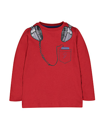 Mothercare Red Headphones T-Shirt