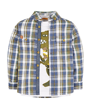 Mothercare Dinosaur Checked Shirt And T-Shirt Set
