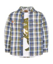 Dinosaur Checked Shirt And T-Shirt Set