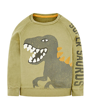 Mothercare Khaki Dinosaur Sweat Top
