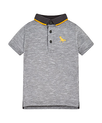 Grey Striped Dinosaur Polo Shirt