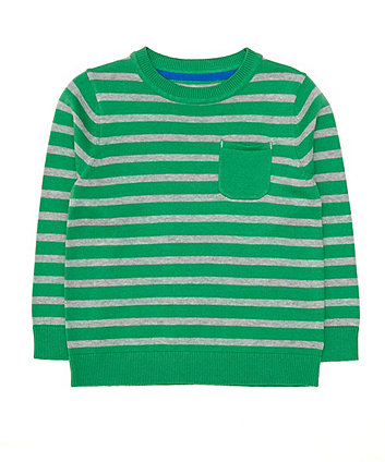 Mothercare Green Striped Knitted Jumper