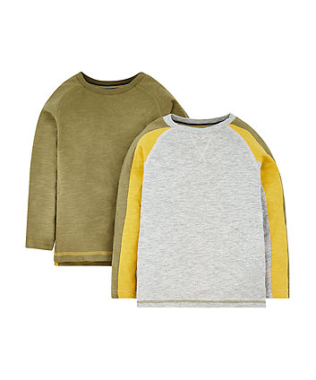 Mothercare Grey, Yellow And Green T-Shirts - 2 Pack