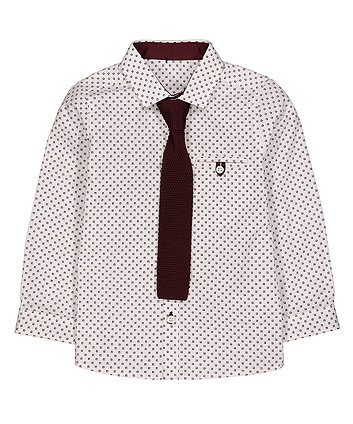 White Geometric Shirt With Tie