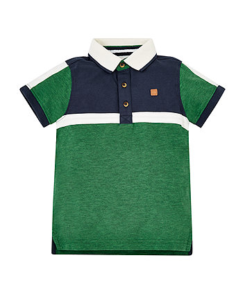 Green, Navy And White Polo Shirt