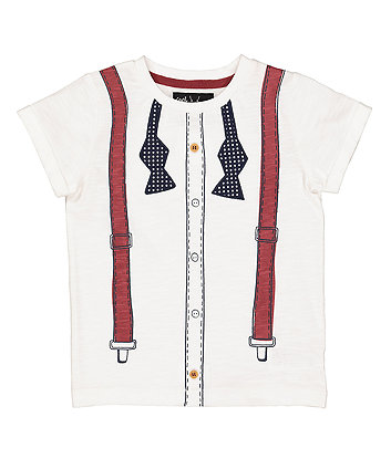 Mothercare Trompe L'Oeil Mock Shirt, Tie And Braces T-Shirt