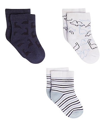 Mothercare Dinosaur Stripe Socks - 3 Pack