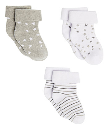 Star And Moon Tot Socks - 3 Pack