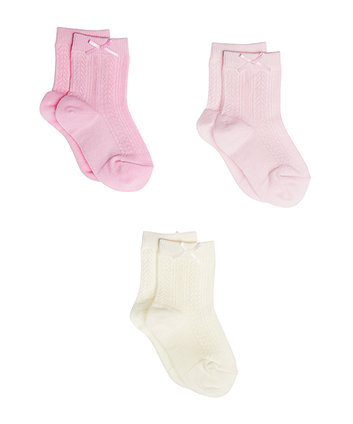 Pink And Cream Cable Socks - 3 Pack