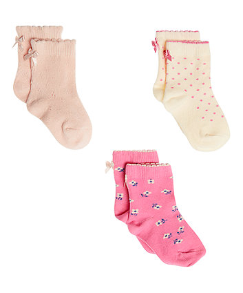 Mothercare Pink And Cream Socks - 3 Pack
