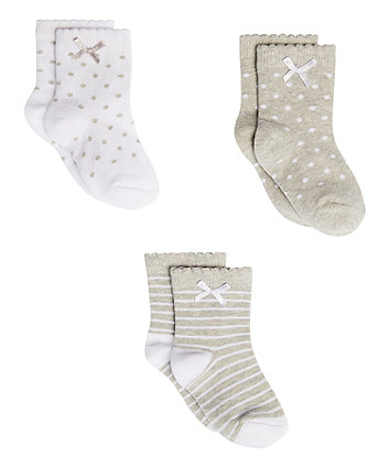 Mothercare Grey And White Socks - 3 Pack