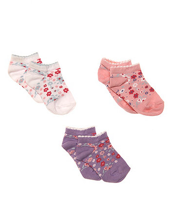 Mothercare Floral Trainer Socks - 3 Pack
