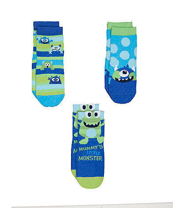 Mothercare Slip Resist Novelty Monster Socks - 3pack