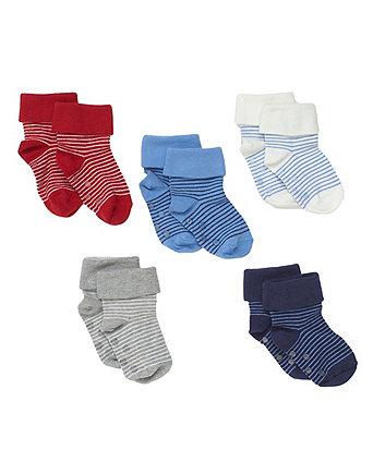 Bright Stripe Slip-Resist Turn-Over-Top Socks - 5 Pack