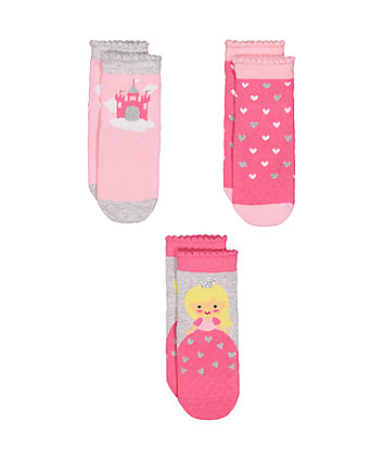 Mothercare Slip Resist Princess Socks - 3pack