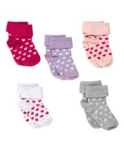 Bright Heart Slip-Resist Turn-Over-Top Socks - 5 Pack