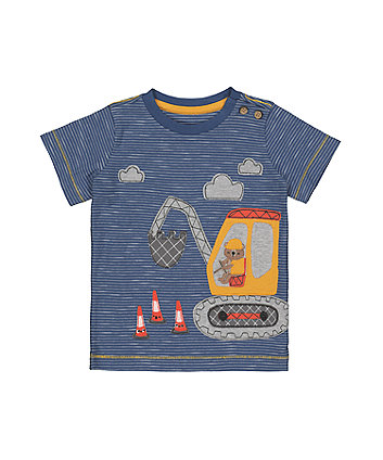 Mothercare Blue Stripe Digger T-Shirt