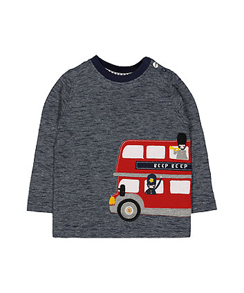 Mothercare Navy Bus Appliqué T-Shirt