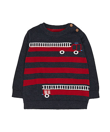 Mothercare Navy Fire Engine Knit Jumper