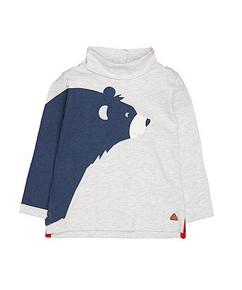 Grey Bear Roll Neck T-Shirt