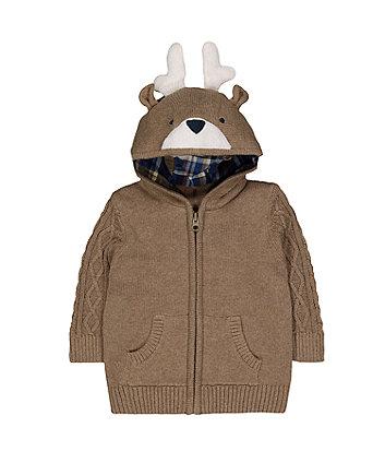 Brown Reindeer Knit Hoodie