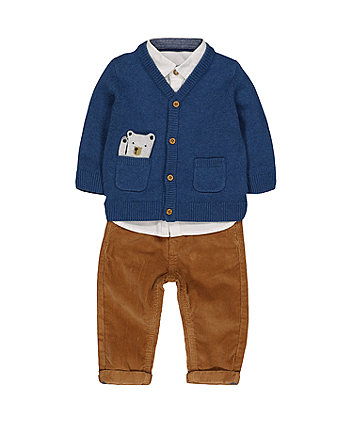 Bear Cardigan, Shirt And Cord Trousers Set
