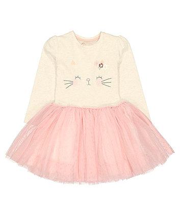 Cat Mesh Twofer Dress