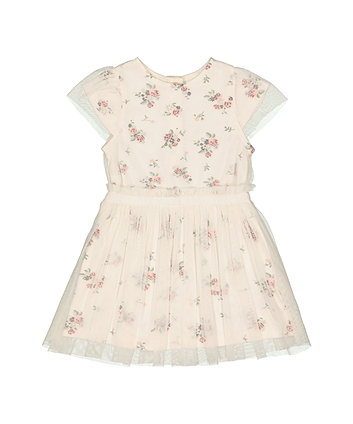 Mothercare Cream Floral Mesh Dress