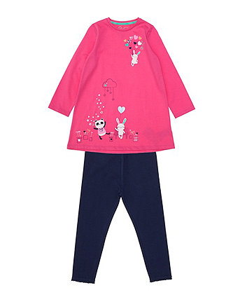 Mothercare Pink Jersey Dress And Leggings Set