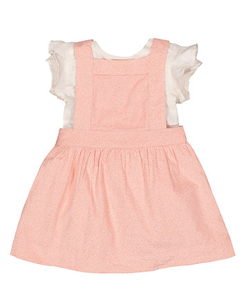 Pink Pinny Dress And T-Shirt Set