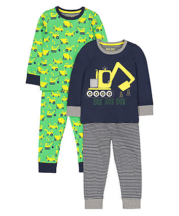 Mothercare Digger Pyjamas - 2 Pack