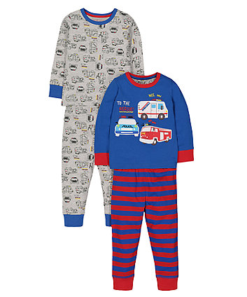 Mothercare Police Car And Fire Engine Pyjamas - 2 Pack