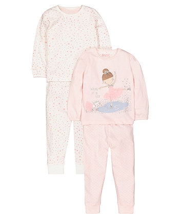 Pink Ice Skater Pyjamas - 2 Pack