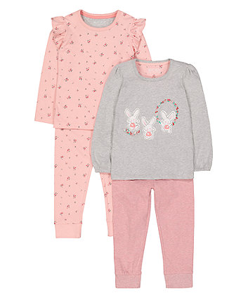 Mothercare Floral Bunny Pyjamas - 2 Pack
