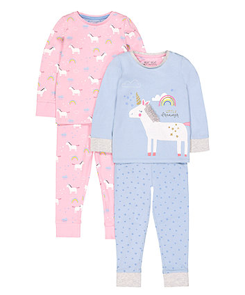 Rainbow Unicorn Pyjamas - 2 Pack