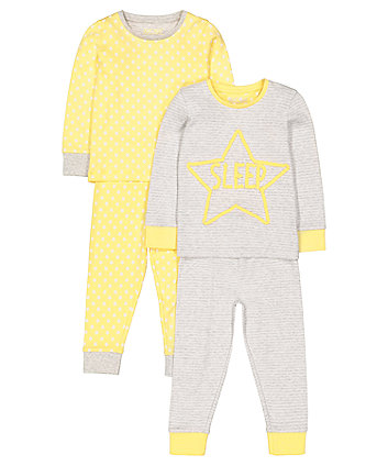 Yellow Star Pyjamas - 2 Pack