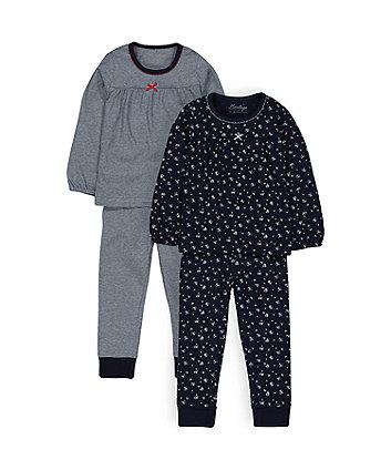 Heritage Navy Floral Pyjamas - 2 Pack