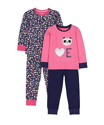 Mothercare Love Panda Floral Pyjamas