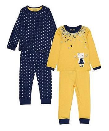 Mothercare Yellow Floral Cat Pyjamas - 2 Pack