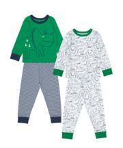 Green And White Dinosaursaur Pyjamas - 2 Pack